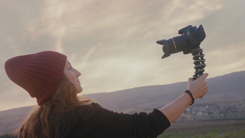Video creator filming herself
