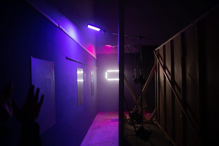 The set of the nightclub scene in Artlist's Valentine's ad