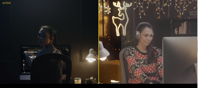 a woman without headphones in a dark room vs. a woman with headphones listening to Christmas music with light all around her.