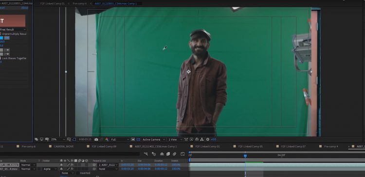 Keying out the green screen