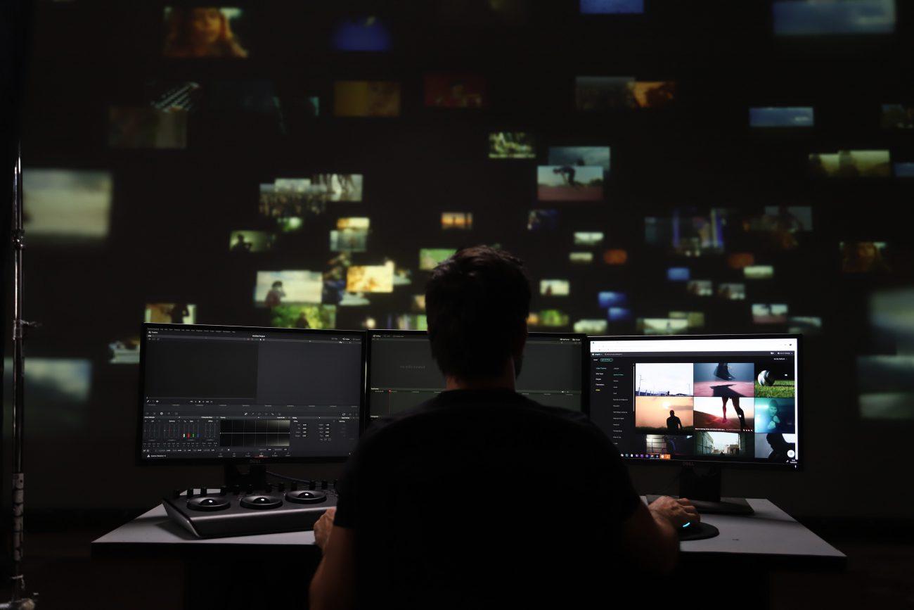 Editor browsing thrugh stock footage