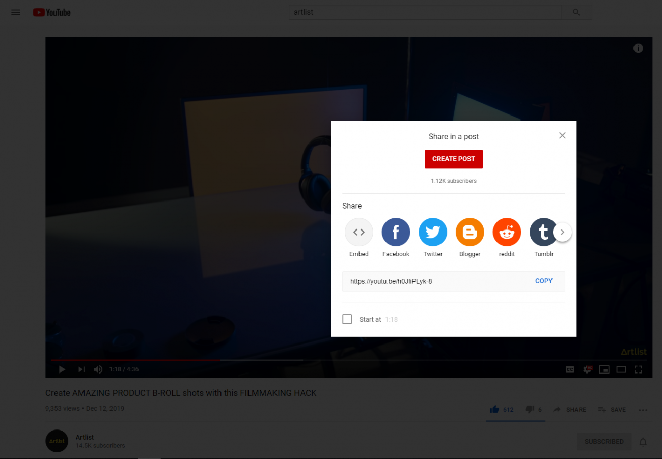 the social media platforms you can share a youtube video on
