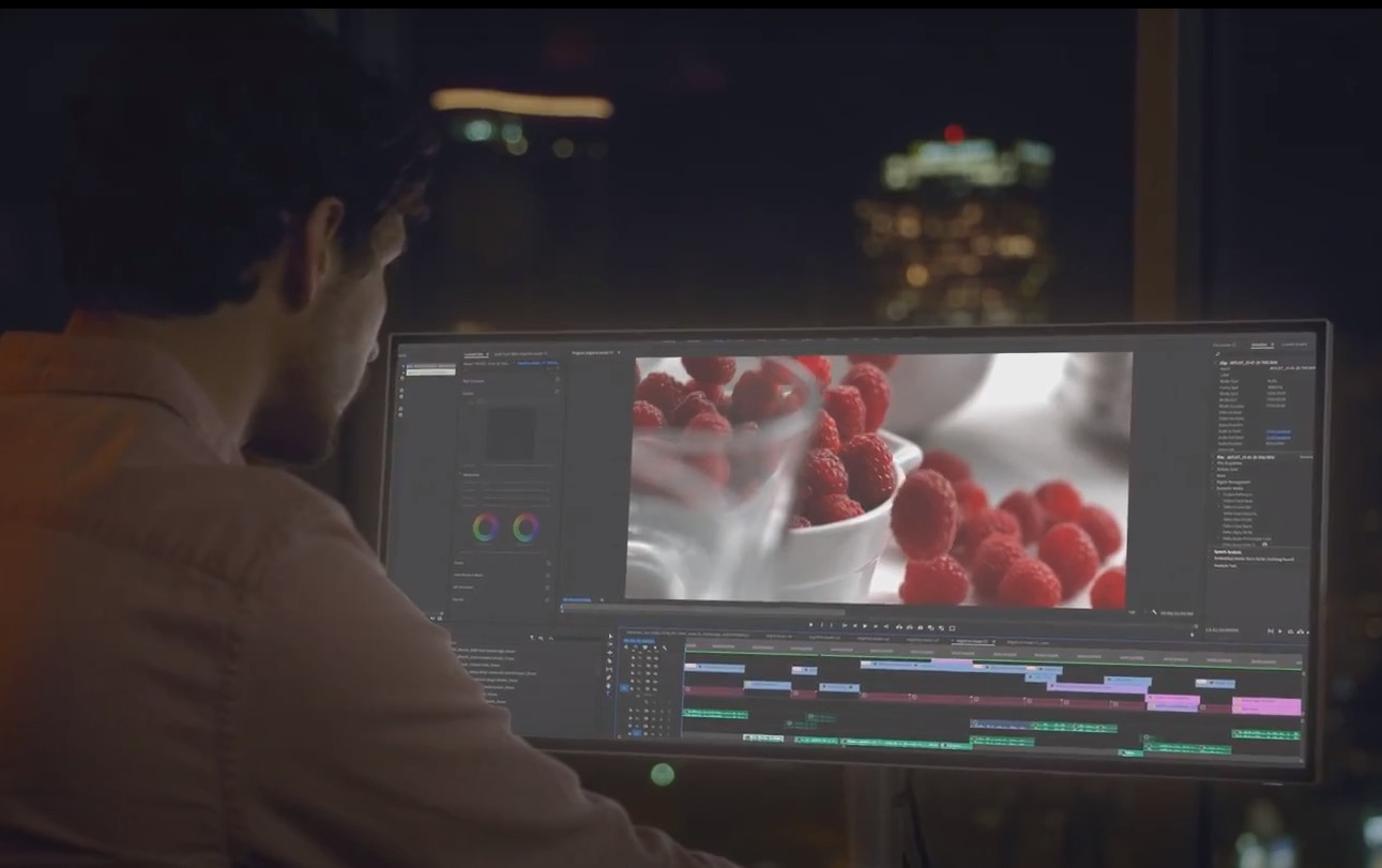 Editor looking at stock footage