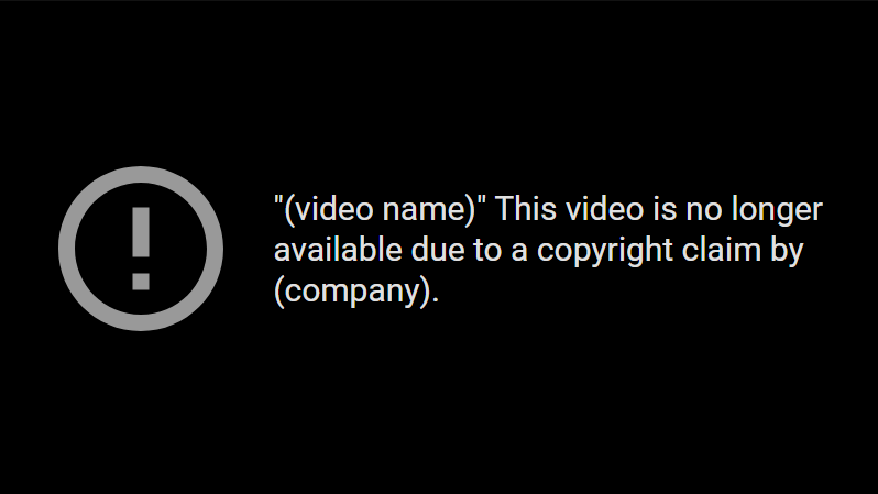 the result of a copyright claim
